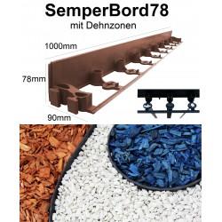 SemperBord78 Terrakotta 40m + 120 Anker Pflasterkante Randstein Beeteinfassung