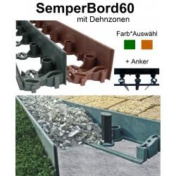 SemperBord60 Terrakotta Grün 1m + Anker Rasenkante Pflasterkante Beetumrandung