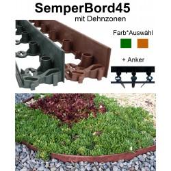 SemperBord45 Terrakotta Grün 1m + Anker Rasenkante Randstein Beeteinfassung