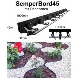 SemperBord45 50m + 150 Anker Beeteinfassung Randstein Rasenbord Randbefestigung Rasenkante