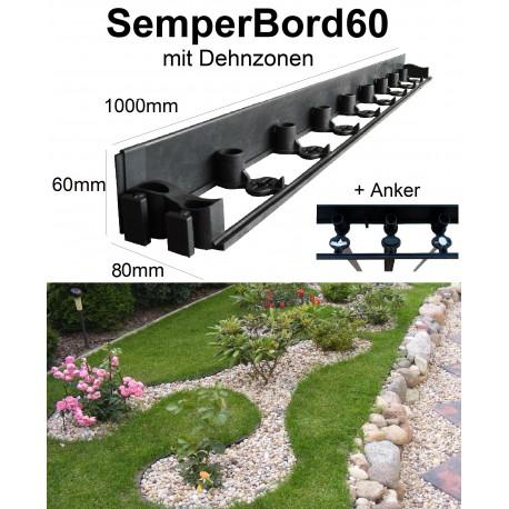 SemperBord60 40m + 120 Anker Randbefestigung Rasenkante Beeteinfassung Rasenbord