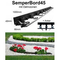 SemperBord45 ab 1m + Anker Beetumrandung Rasenbord Randbefestigung Rasenkante