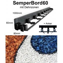 SemperBord60 ab 1m + Anker Randbefestigung Rasenkante Beeteinfassung Mähkante