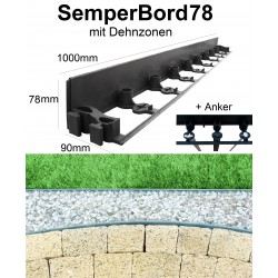 SemperBord78 ab 1m + Anker Baumumrandung Randbefestigung Pflasterkante Randstein