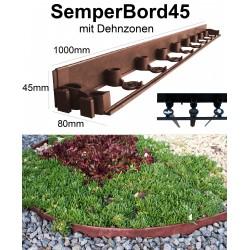 SemperBord45 Terrakotta 50m + 150 Anker Rasenbord Beeteinfassung