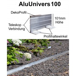 AluUnivers100 H 10cm 8x2m mit DekoProfil Randbefestigung Rasenkante Rasenbegrenzung Mähkante AluBorder