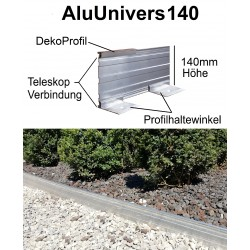 AluUnivers140 H 14cm 8x2m mit DekoProfil Randbefestigung Rasenkante Rasenbegrenzung Mähkante AluBorder